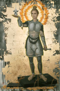 """Guardian Power Facing North Oil and Gold Leaf on Linen72""""x36"""""""